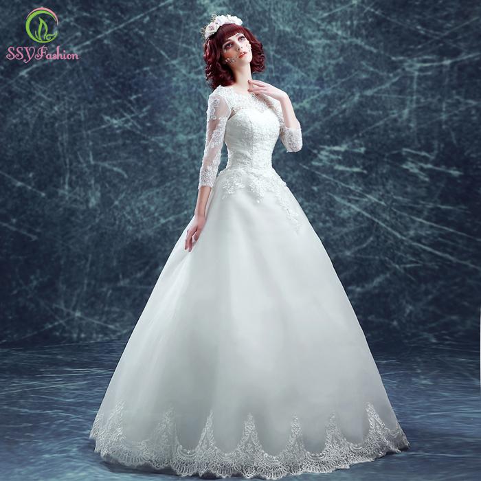 Ssyfashion Long Sleeve Wedding Dresses The Bride Elegant: Aliexpress.com : Buy SSYFashion 2017 Lace White Wedding