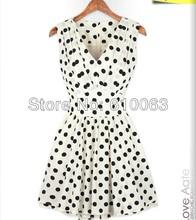2013 tank dress slim pleated fashion women's polka dot chiffon sleeveless one-piece dress free shipping