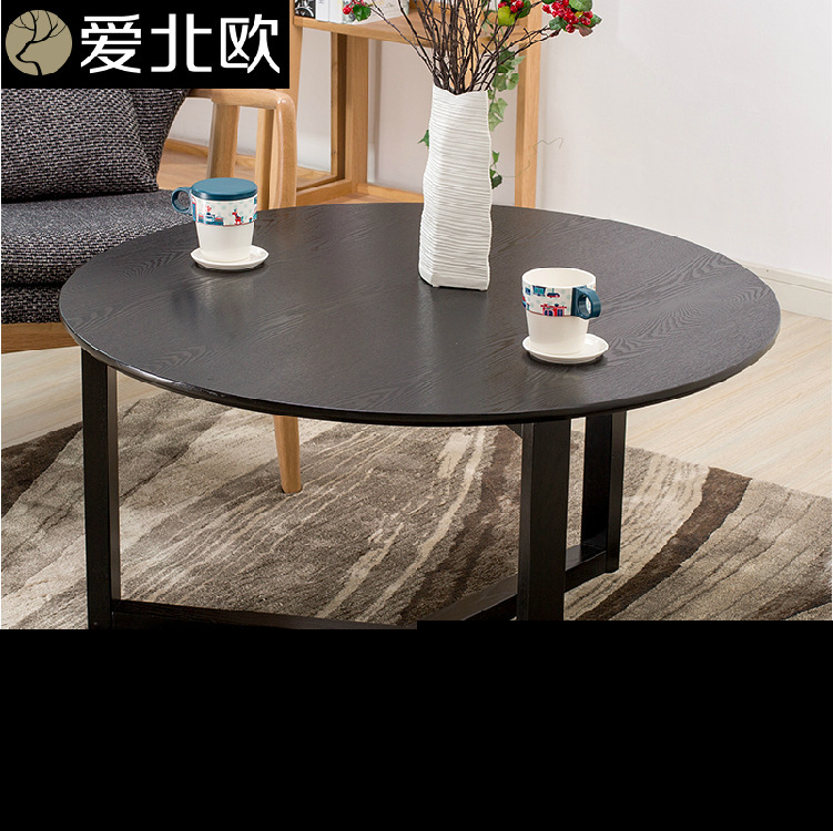 Round Tea Table Coffee Table /small Family Solid Wood Tea