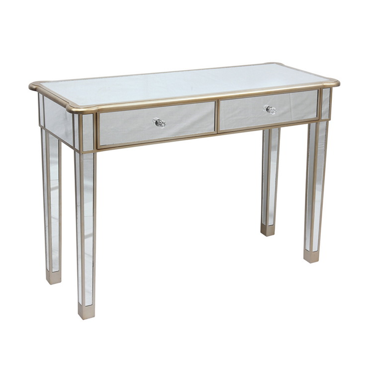Luxury Modern 2 drawers Gold Glass Cover Mirrored Nail Table/Console Table