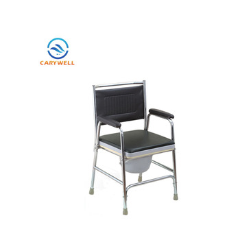 Steel Comfortable Hospital Bedside Commode Chair Without Wheels