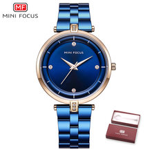 Женские кварцевые часы MINI FOCUS, синие наручные часы с ремешком из нержавеющей стали, кварцевые часы, 2020(Китай)