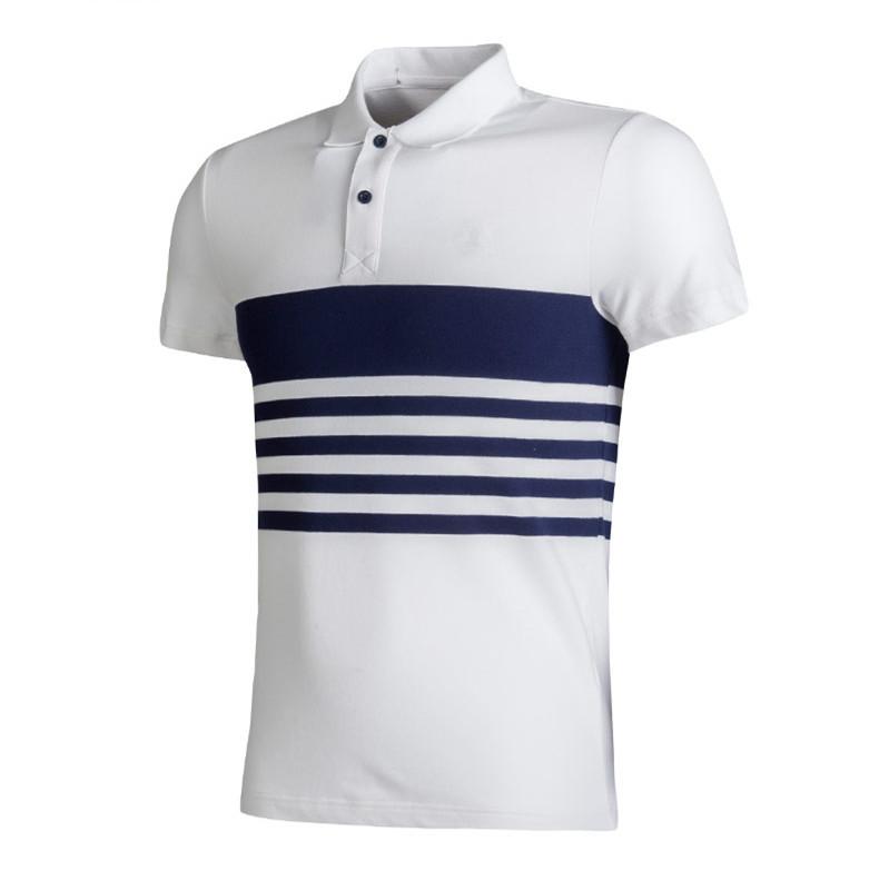 Оптовая продажа, мужские спортивные футболки-поло в полоску из 100% хлопка высокого качества