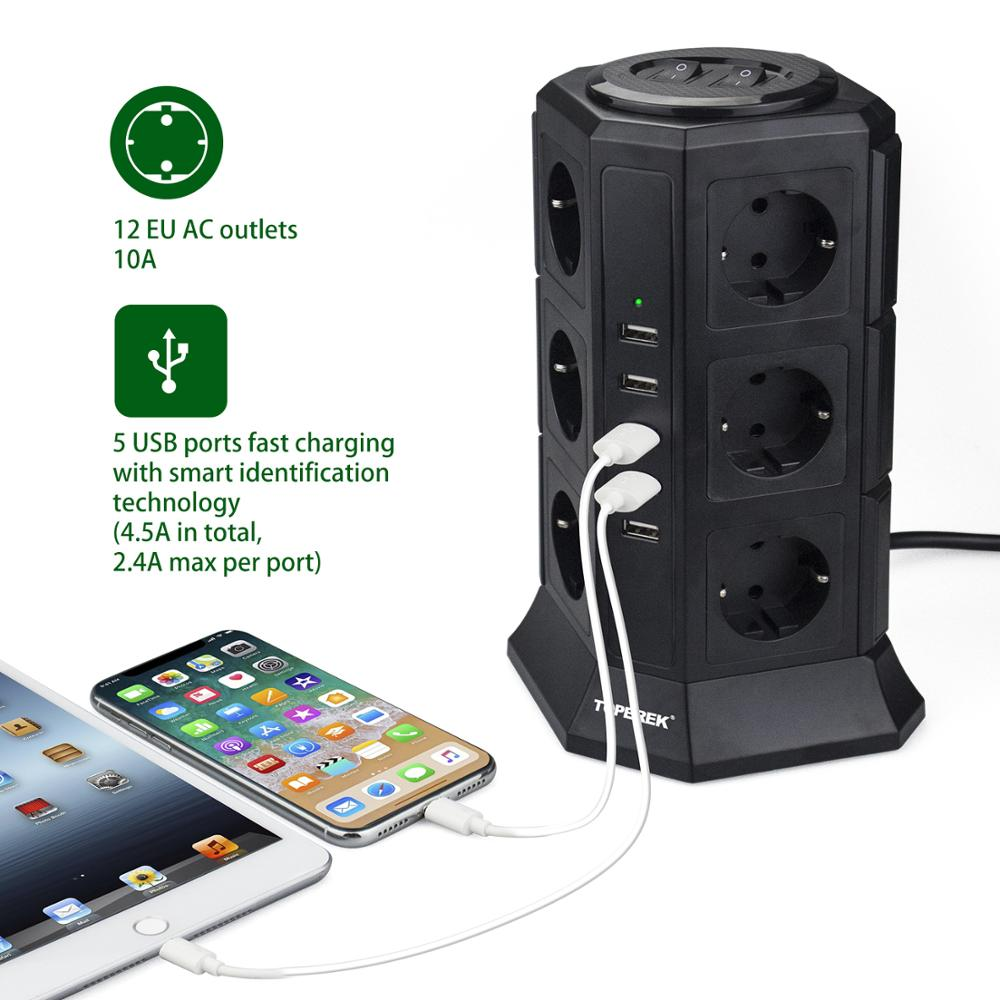 French power strip White Surge Protector, 12 Outlet + 5 USB + 6.5 ft. Cord