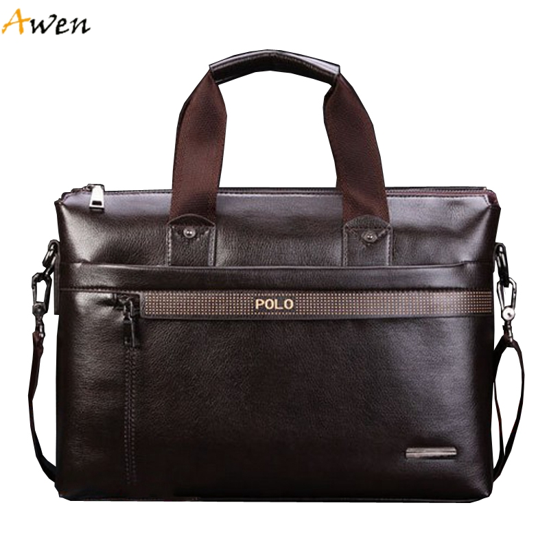 Awen Hot Sell Promotion Simple Dot Design Famous Brand Business Men Briefcase Bag Luxury Wholesale Leather
