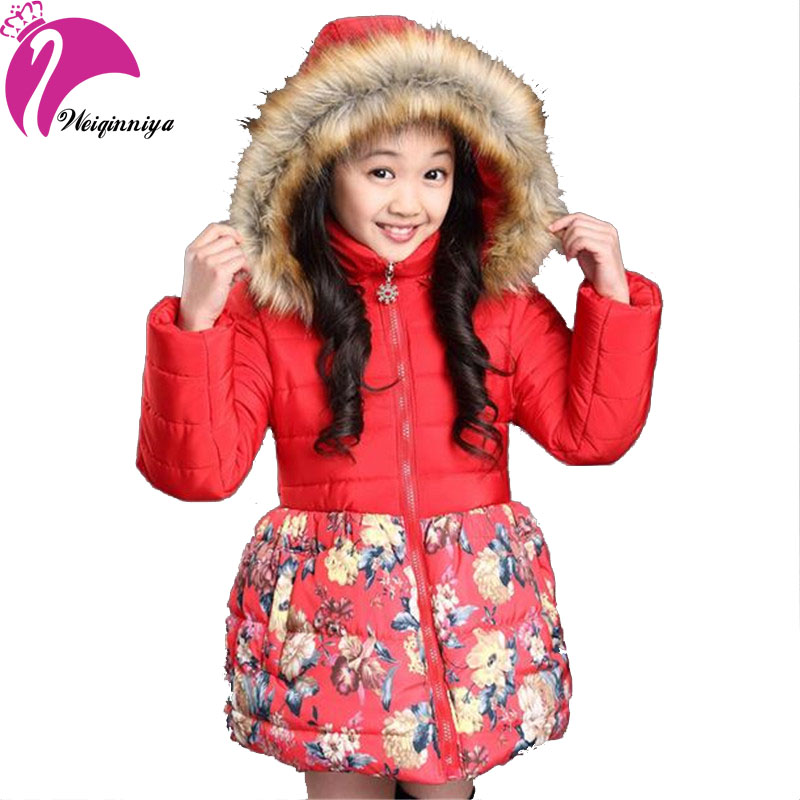 New 2016 Autumn Winter Girls Coat Plus Thick Velvet Floral Cotton Padded Fashion Fur Collar Hooded