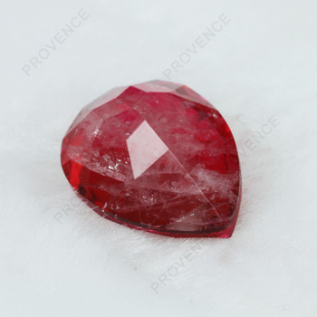 Hot Sale Pear Red Color Natural Cracks Ruby Stone Imitation Jewelry Synthetic Loose Gems Price For Jewelry Making