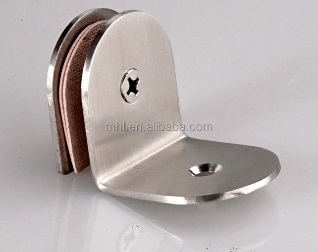 90 degree stainless steel glass clip toilet partition brace glass clamp