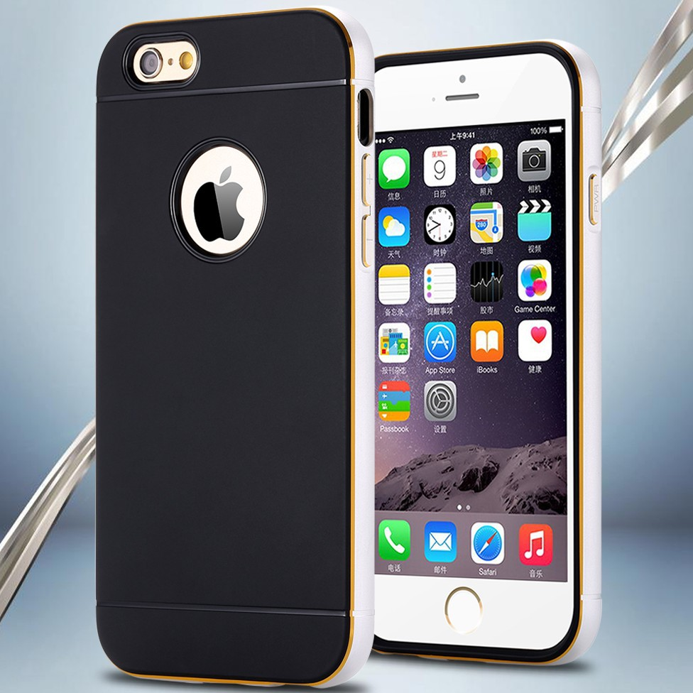 buy 2016 apple iphone 6 6s case 4 7 inch hybrid luxury aluminum frame metal pu leather back. Black Bedroom Furniture Sets. Home Design Ideas