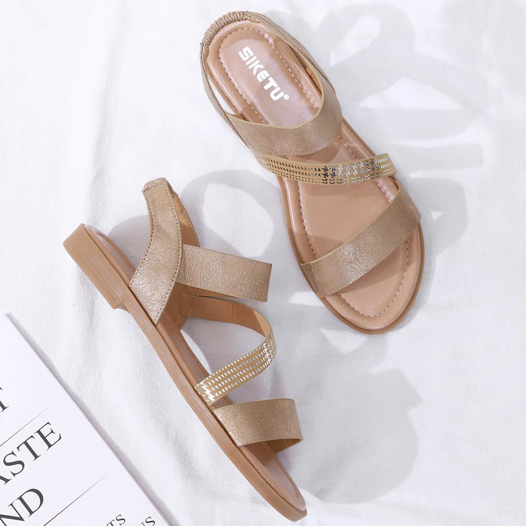 Frauen Schuhe Sommer Damen Sandalen Frauen Schuhe Sommer Roma Feste Runde Kappe Flache Sandalen Damen Arbeiten Schuhe Frau Casual #20190101 Frauen Sandalen