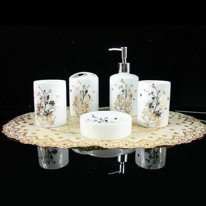 High Quality Bathroom Set Gold Leaf Ceramic Five Piece