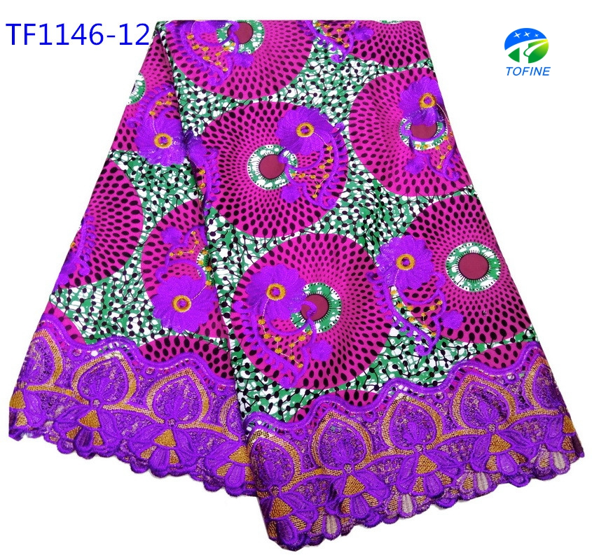 Wholesale price ankara wax with embroidery lace for making wedding