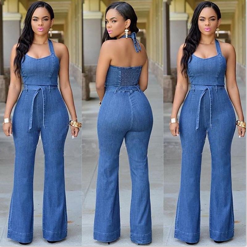 Blue,M Womens Wide Leg Romper Ladies Casual Lace Off Shoulder Jumpsuit Lace Up Playsuit Pants