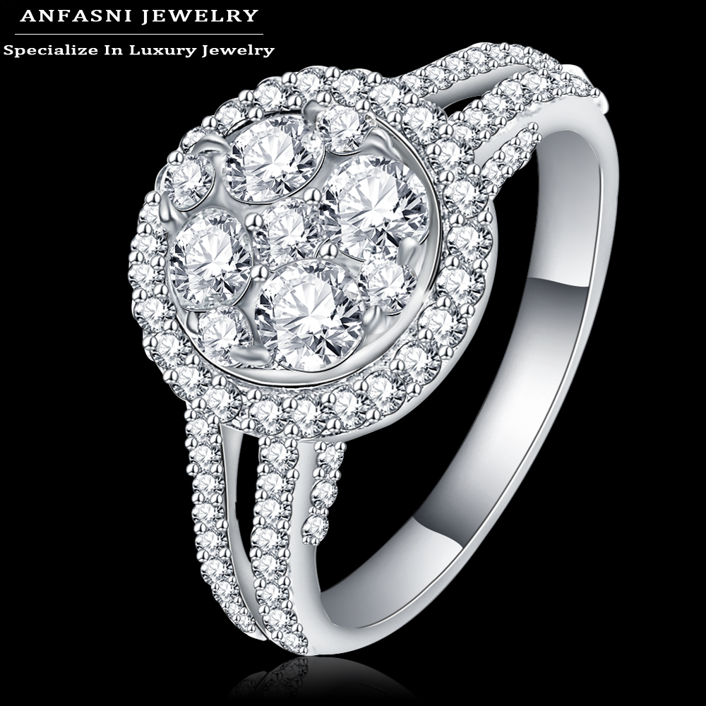 Anfasni Top Quality Women Engagement Rings Real Platinum