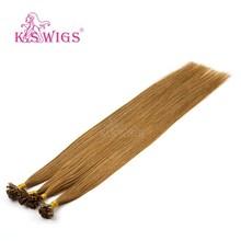 K.S искусственные волосы, 1 г/локон, 24 дюйма, прямые, двойные, предварительно скрепленные, с плоским наконечником, Remy, человеческие волосы для н...(Китай)