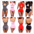 2016 Hawaiian Bandage Dress high waist swimwears high waist Bikinis Set Sexy Swimsuit plus size high
