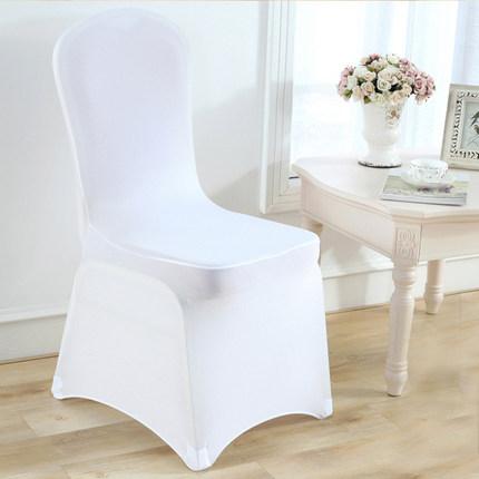 Оптовая продажа, дешевые свадебные чехлы из белого спандекса для банкетных стульев