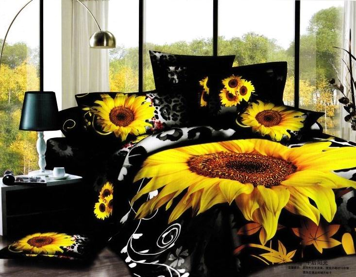 Aliexpress Com Buy 3d Sunflower Black And Yellow Bedding