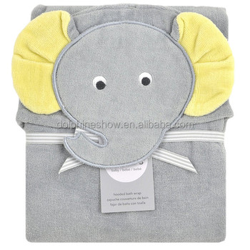 2017 Cheap cartoon grey elephant baby bamboo bath towel with hood LOW MOQ wholesale 100% cotton animal hooded baby bath towel