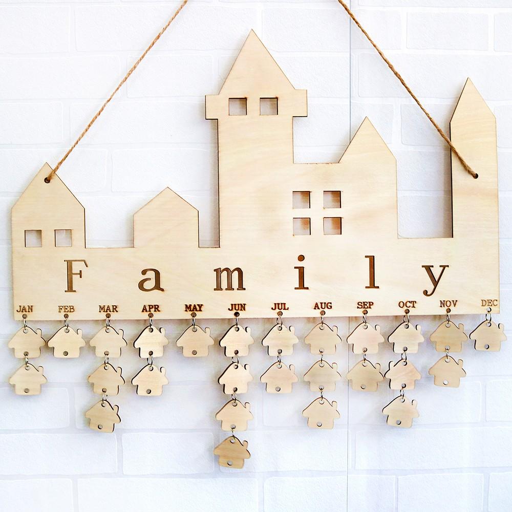 Деревянная доска-напоминание на день рождения, табличка из фанеры, знак, семейный друг, самодельный календарь
