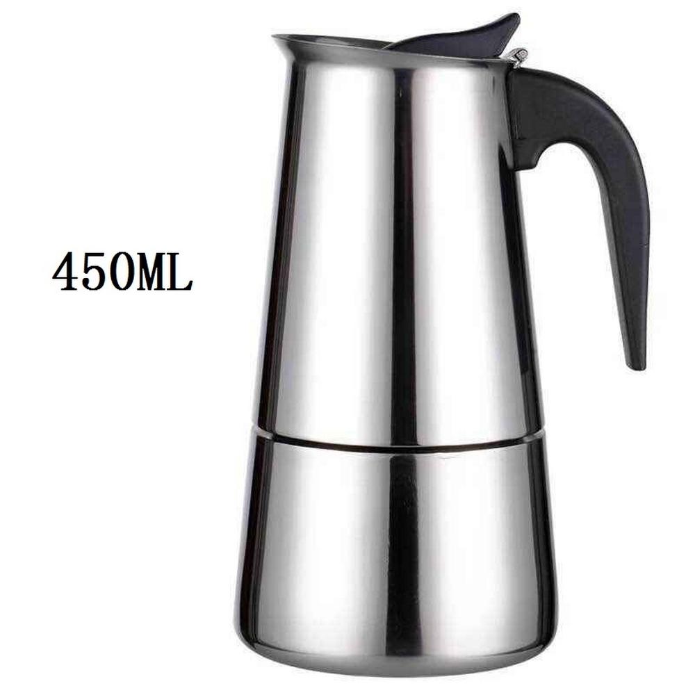 Портативный Эспрессо кофеварка Moka Pot из нержавеющей стали чайник для кофе для Pro Barista 100 мл/200 мл/300 мл/450 мл(Китай)