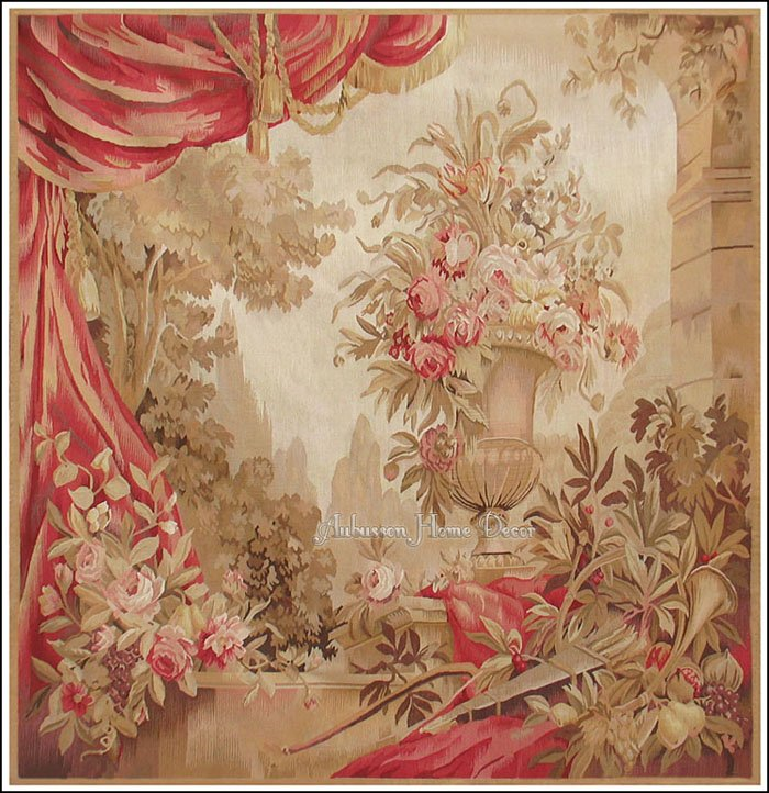 5 2 Square Aubusson Rug Tapestry Quot Draped Urn N Roses Quot Wool
