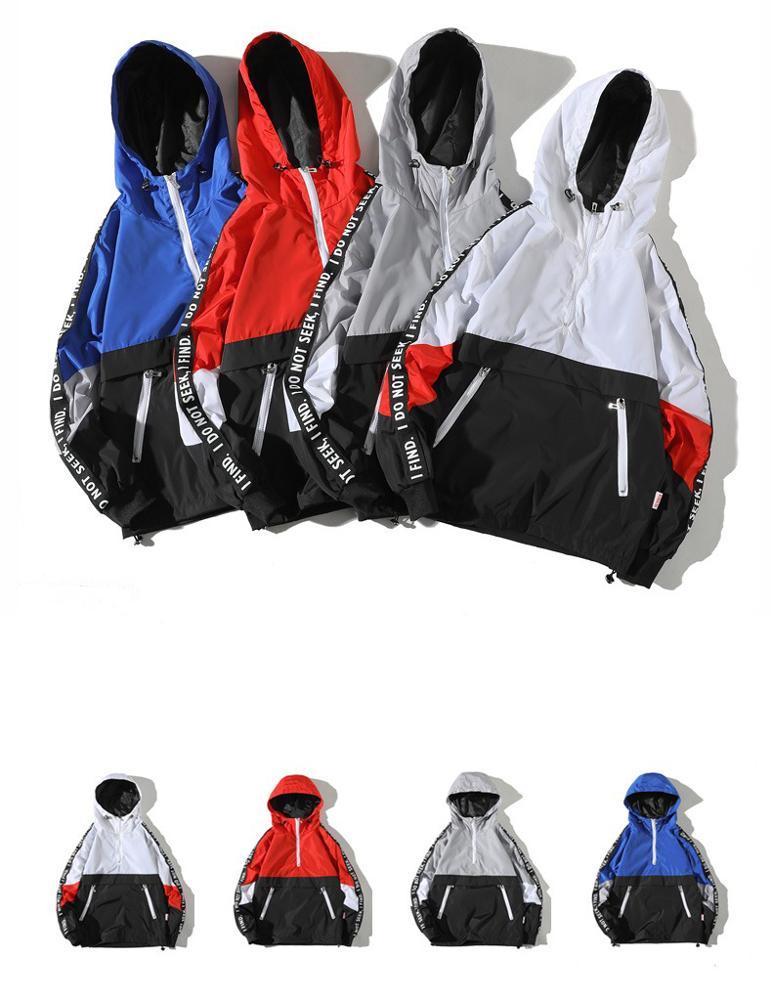 Custom Newest Color Block Windbreaker Man Pullover 1/4 Zipper Jacket