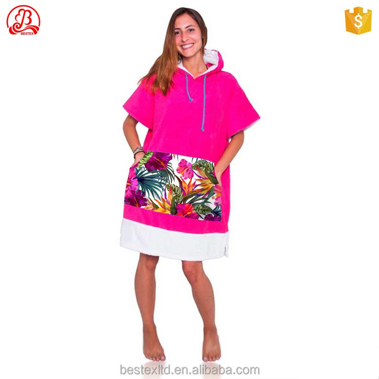 Халат-пончо из 100 органического хлопка с длинным рукавом, полотенце для серфинга, индивидуальный пошив, сухая одежда с капюшоном для взрослых, пляжное пончо для серфинга