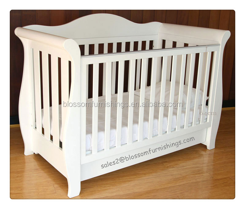 White Wooden Royal Style Baby Sleigh Crib Buy Baby Crib