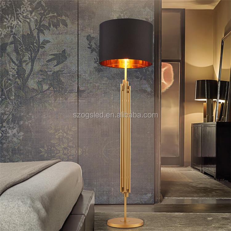 Старинный черный кованый абажур, Золотой Железный светодиодный напольный светильник