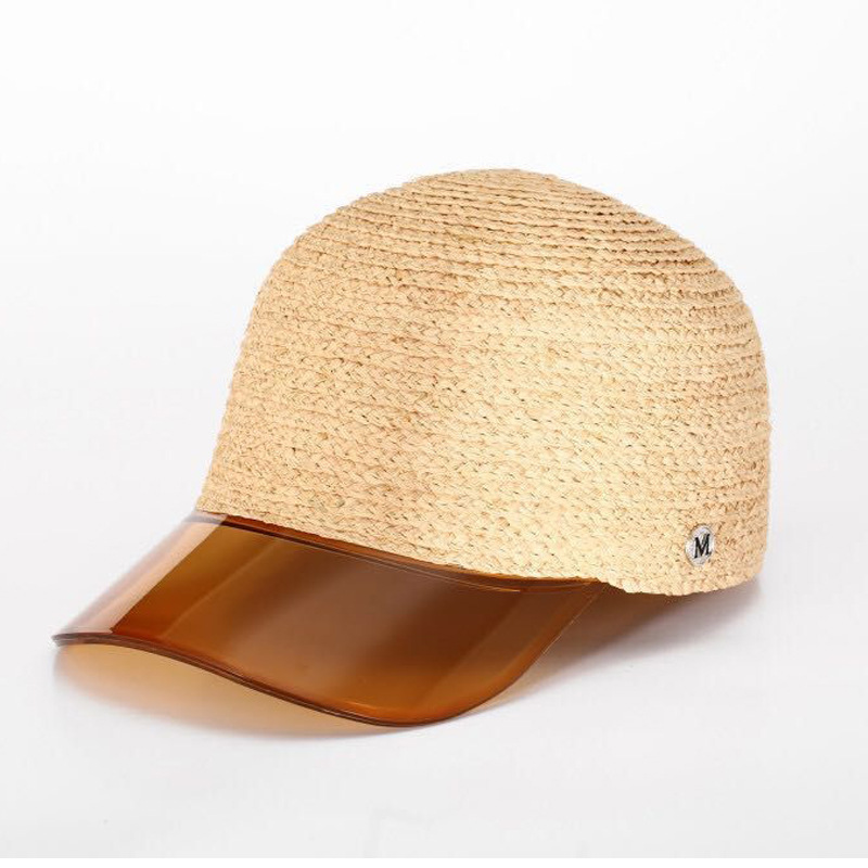 2019 new style braid straw baseball shape caps summer hats caps hats with plastic brim