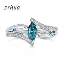 ZRHUA высококачественные серебряные кольца на палец для женщин, персонализированные кольца на палец с голубыми камнями, циркониевые кольца, п...(Китай)