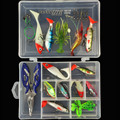33pcs Set Lead Head Soft Fishing Lure Frog Shrimp Jig Lures Fishing Accessories Tools Tackle Box