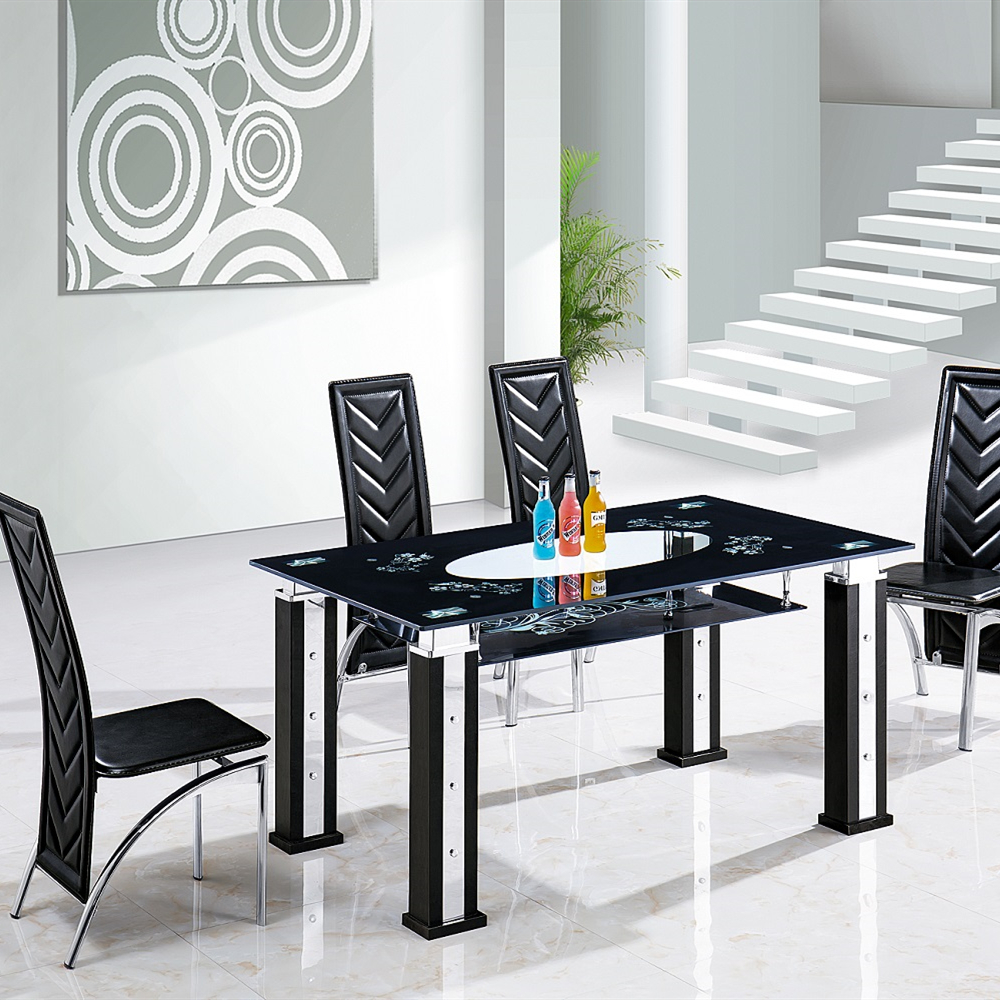 New Product Furniture Stylish Black Glass Dining Room Set Modern Dining  Table Sets   Buy Open Black Dining Table,Tempered Glass Dining Table,Dining  ...