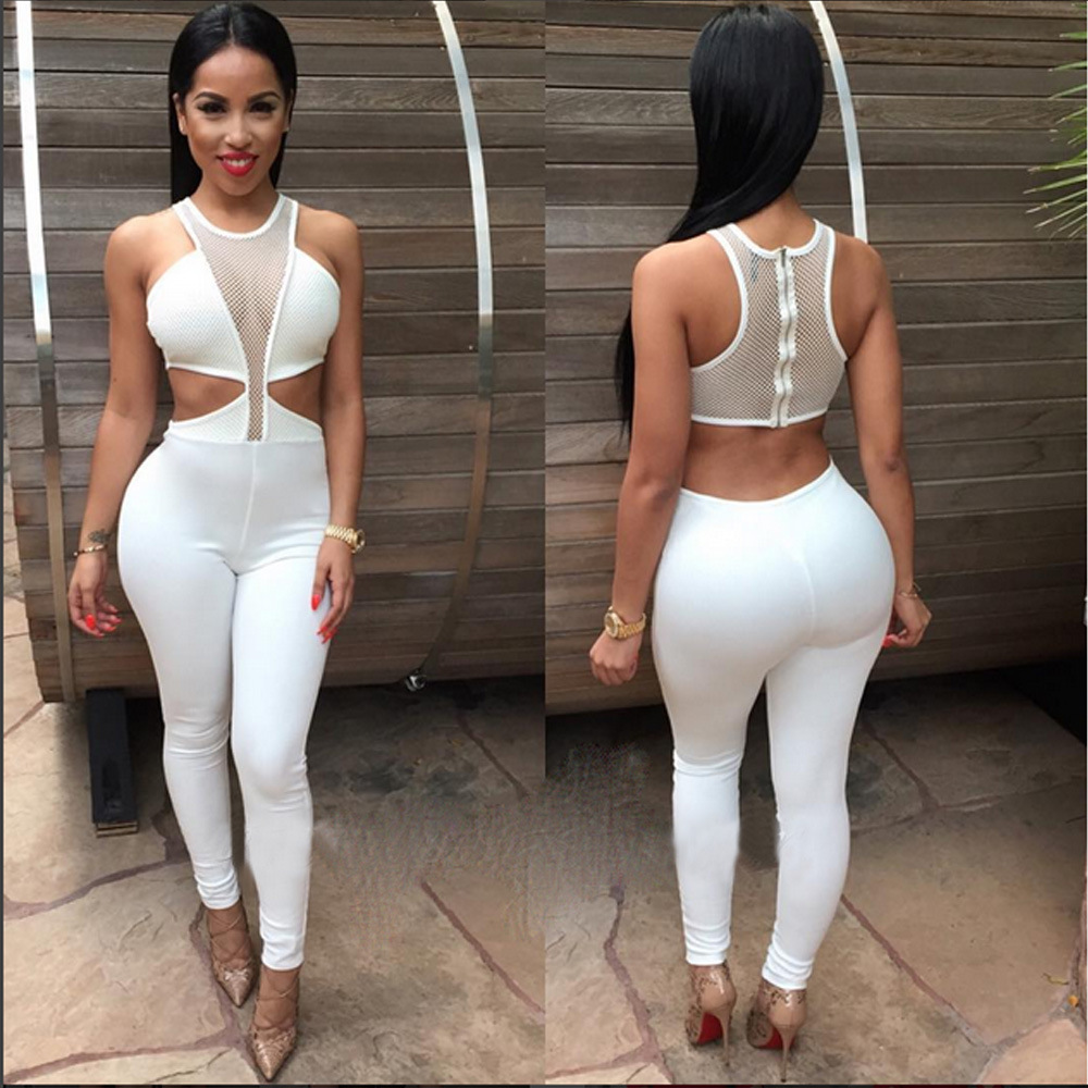 Bodysuits Sexy Bodysuit Women Tops Summer Solid Hollow Out Deep V-neck Jumpsuits Overalls