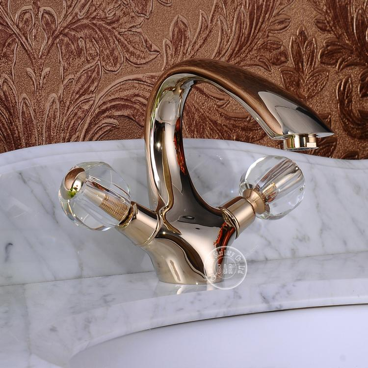 2014 new faucet crystal handle double handle gold bathroom - Gold bathroom faucets with crystal handles ...