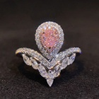 925 Sterling Silver Jewelry Pear Shape Cut Pink Cubic Zirconia Diamond Mix Rose Gold Plated Rhodium Engagement Halo Ring