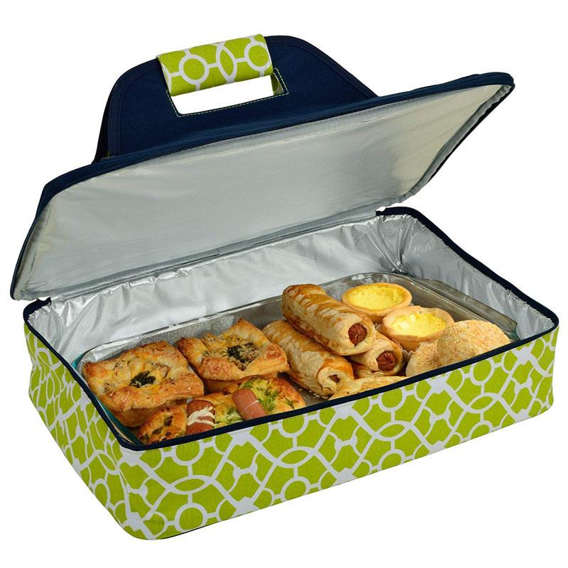 Изолированная кастрюля для пиццы и пищевых продуктов для хранения горячей или холодной еды, зеленая сумка-холодильник с индивидуальным логотипом