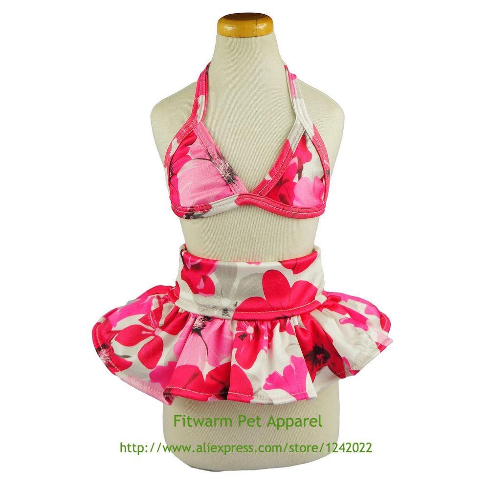 Стильный Розовый Цветочные Собака Бикини Плавание Платье Купальный Костюм Летней Одежды, Розовый Бесплатная Доставка XS Маленький Средний Большой чихуахуа