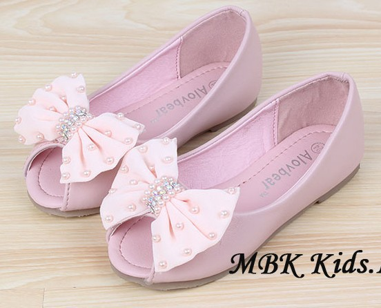 Children Shoes Sandals New Latest Girls Shoes Pearl Diamond Big Bowknot Pink Beige Girls Sandals Princess