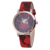 High Quality New Fashion Women Dress Watches Gold Dial Japan Movt Flower Print Leather Watches