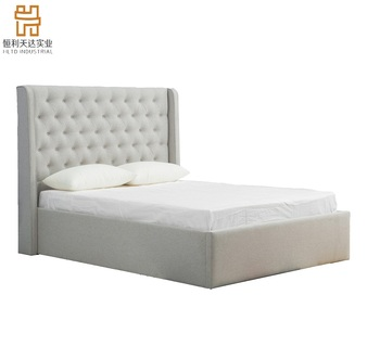 Modern king size Cream fabric upholstered ottoman gas lift storage bed for bedroom furniture