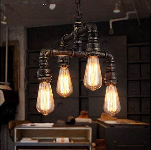 Iwhd Water Pipe Retro Vintage Ceiling Light Fixtures: Water Pipe Loft Style Lamp Edison Pendant Lights Fixtures