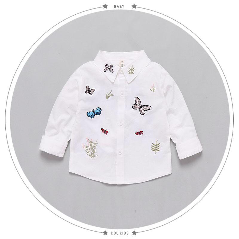 Белая блузка с вышивкой для маленьких девочек B13215A