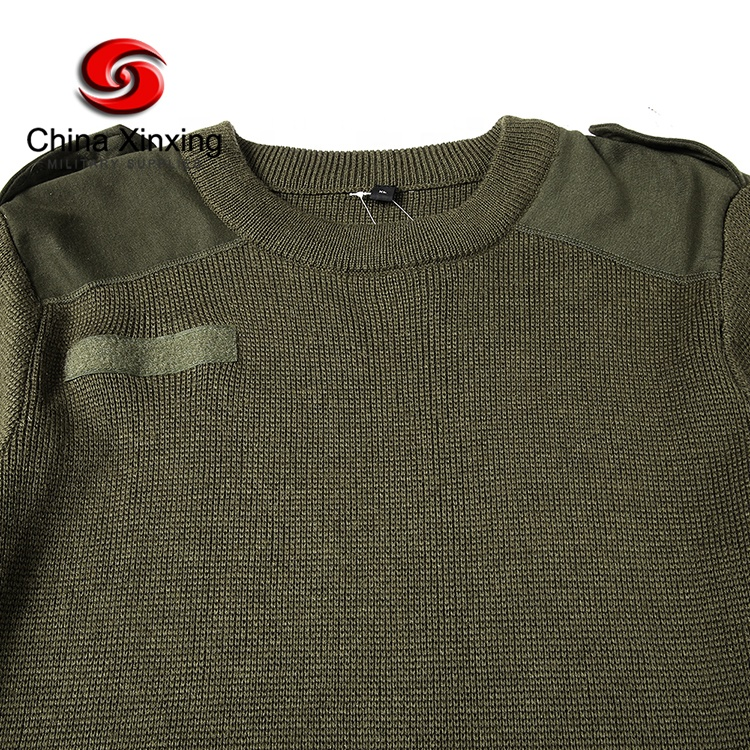 Xinxing YM11 Military Army Olive Green Sweater Round Neck Wool Acrylic Army Jersey Pullover Sweater