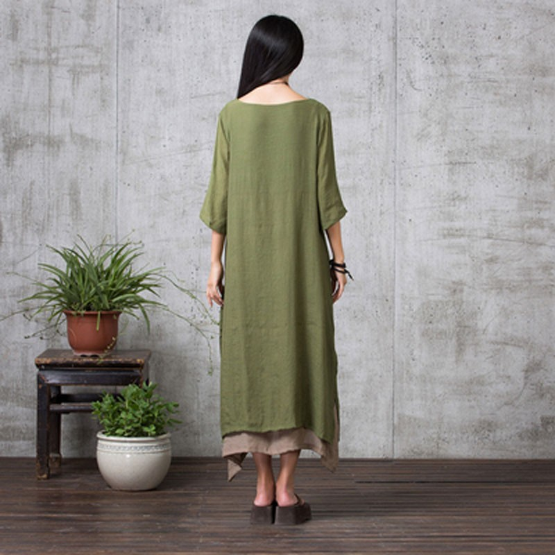 e966876ff5bc Wholesale- ZANZEA 2016 New Boho Style Summer Women Vintage Loose Long Maxi  Dress Solid 3 4 Sleeve Dresses Femininas Vestidos Plus Size Dress Size 2 ...