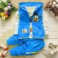 retail 2015 New Autumn children boys girls clothing sets baby kids cartoon coat jacket T shirt
