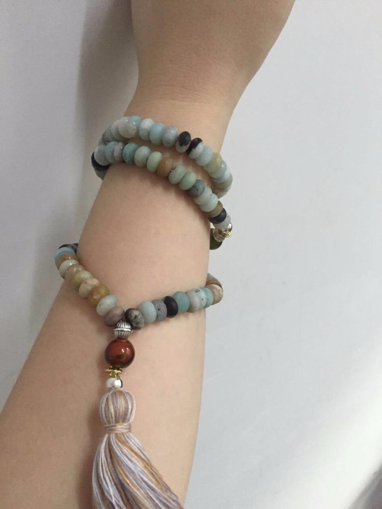 Матовые бусины амазонита мала ювелирные изделия для йоги amazon камень богемная Молитва Мала ожерелье с кисточкой