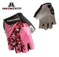 Beautiful women riding gloves outdoor sports short finger cherry gloves non slip breathable mountain bike equipment