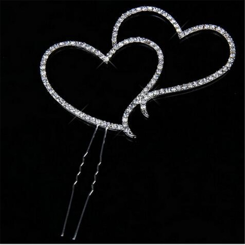 Silver Double Heart Cake Topper